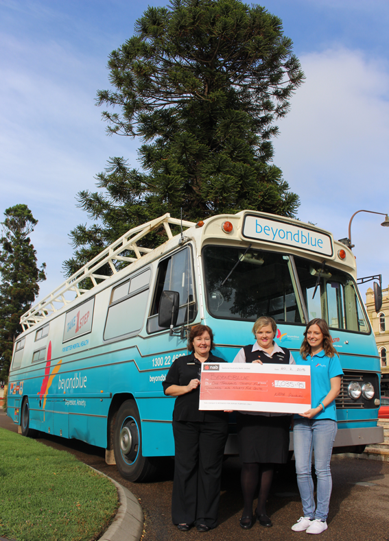 NRMA Goulburn popped down to Belmore Park to present a cheque after raising more than $1000 for Beyond Blue.