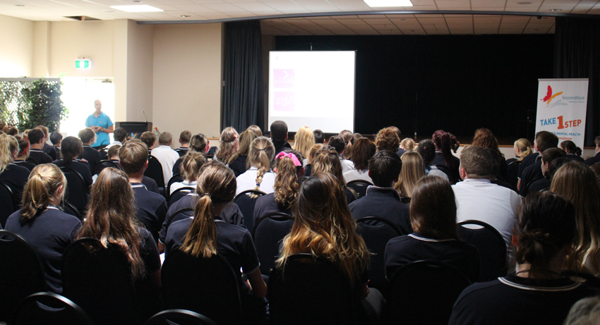 Talking good mental health to students in Bombala.