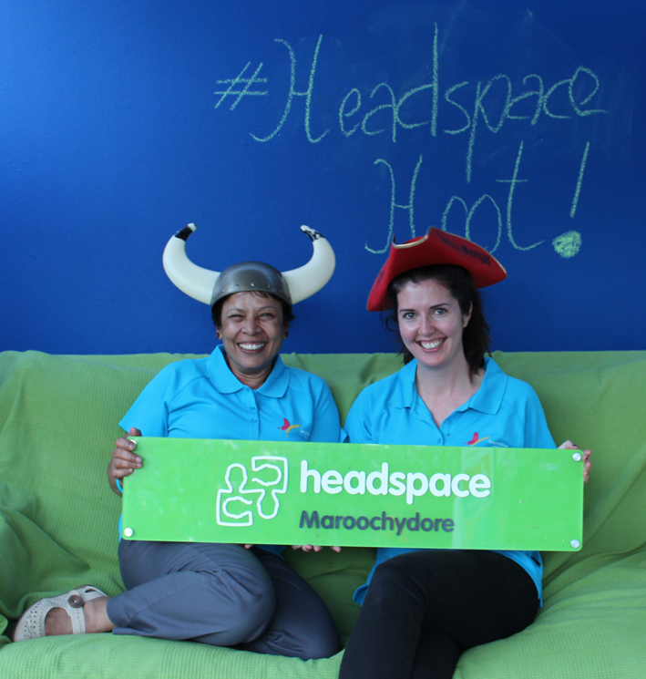 Beyond Blue's Linda and Kimberley visit the photo booth at the headspace Hootenanny in Maroochydore.