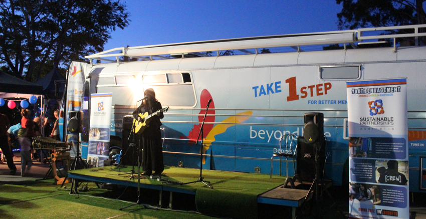 The bus provided the stage for musical acts at the headspace Hootenanny.