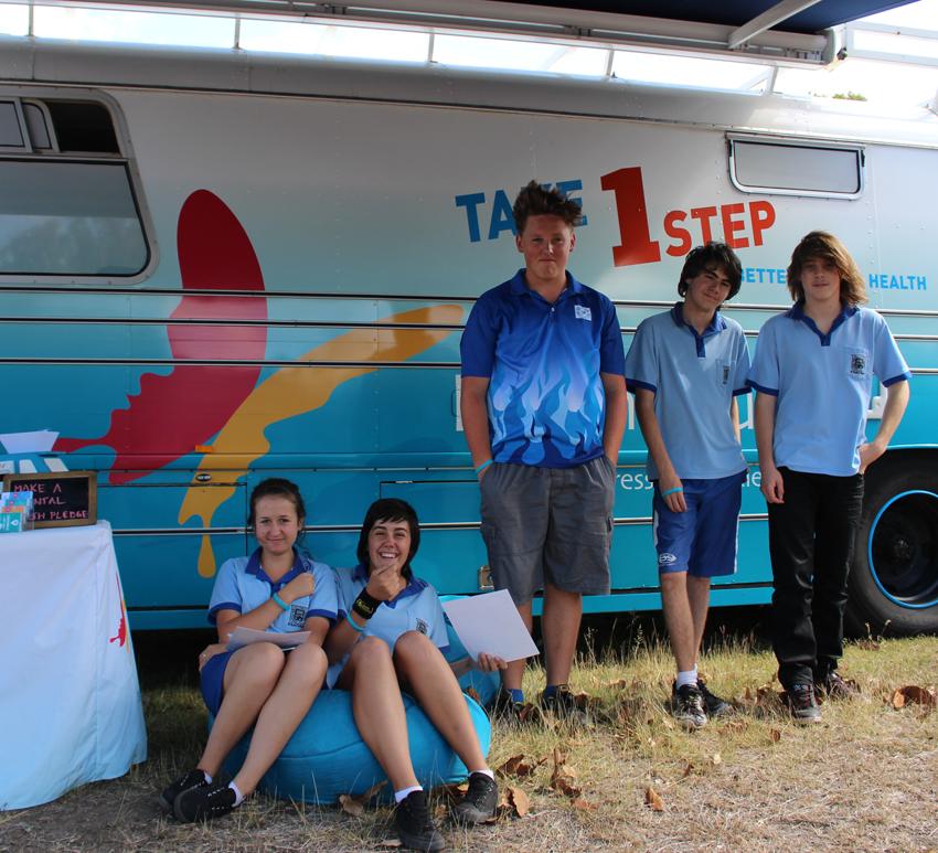 Kilkivan school students visit the bus.