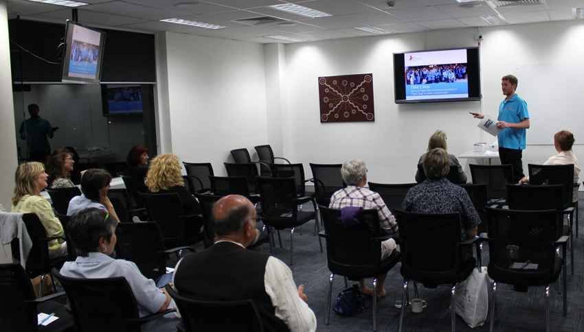 beyondblue's Lachlan Kent gives an overview of Beyond Blue's work at a workshop for health professionals in Maroochydore.