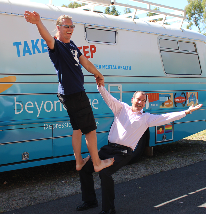 Beyond Blue bus driver Pete and Federal Member for Fisher Mal Brough show some moves in a 'trust game' exercise!