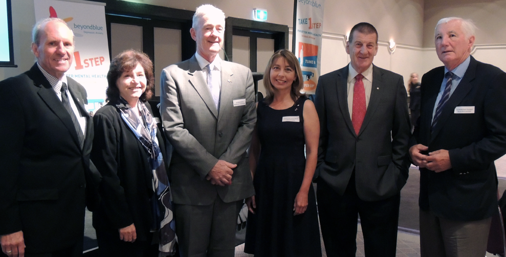 At the Hobart breakfast: Deputy Lord Mayor of the City of Hobart Ron Casey; Leonie Young; Dr Robert Walters; Fiona Coote AM; The Hon Jeff Kennett AC;  Ian McMichael