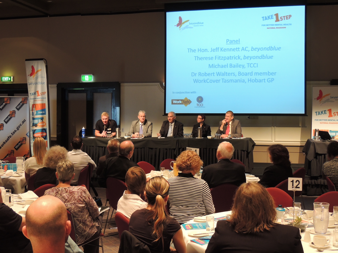 The panel of speakers take questions in Hobart.