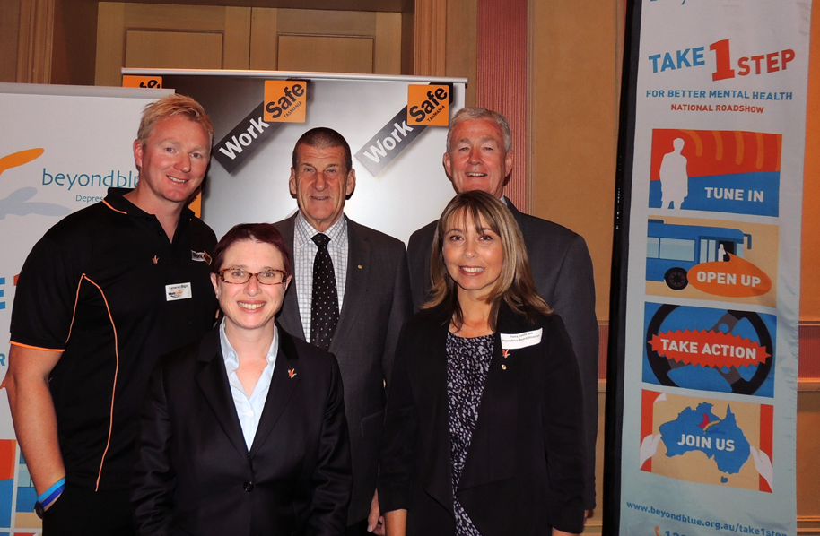 At the Launceston luncheon: WorkCover Tasmania's Cameron Blight; The Hon Jeff Kennett AC; Dr Robert Walters; Beyond Blue's Therese Fitzpatrick; Fiona Coote AM.