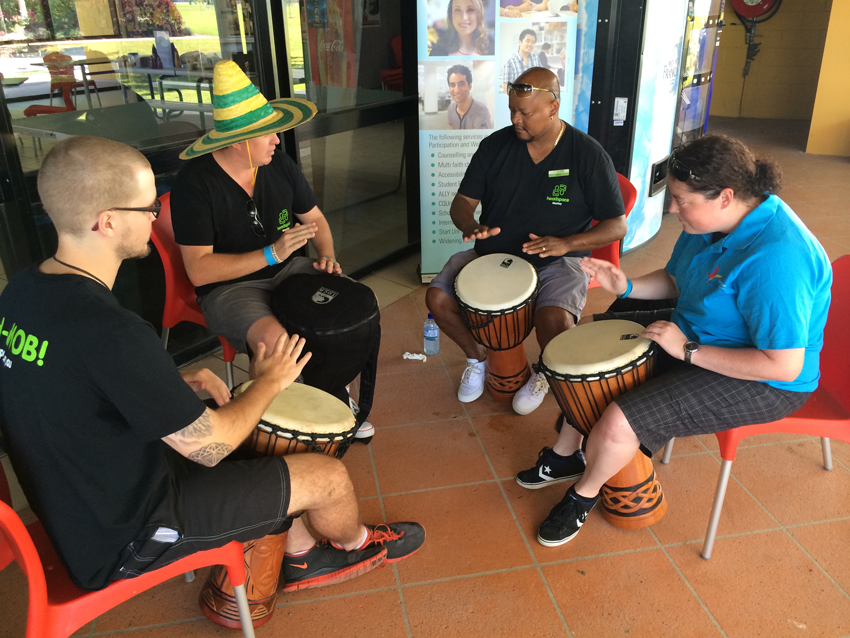 Getting some drumming lessons in at CQUniversity in Mackay.