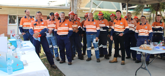 Mill workers in Ingham were keen to check out Beyond Blue materials and enjoy a free barbecue.