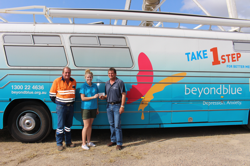 Don and Nat Oswin presented a cheque for $500 to Beyond Blue on behalf of the Sugar City Rodeo committee.