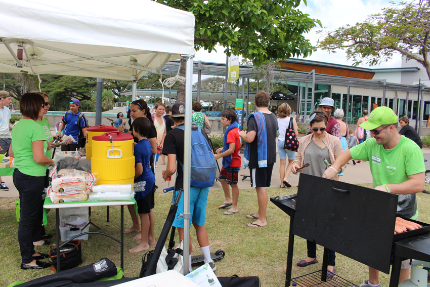 Plenty of locals keen for the free barbecue in Townsville.
