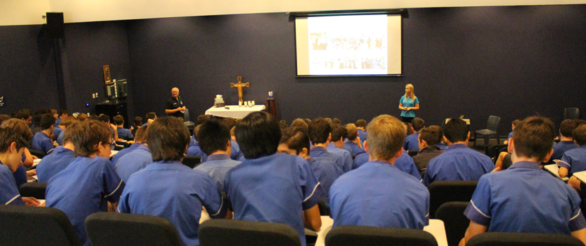 Beyond Blue's Bron Collins presents to students at St Edmund's College.