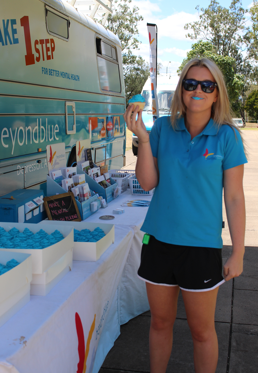 Taste testing the delicious blue cupcakes at the University of Queensland.