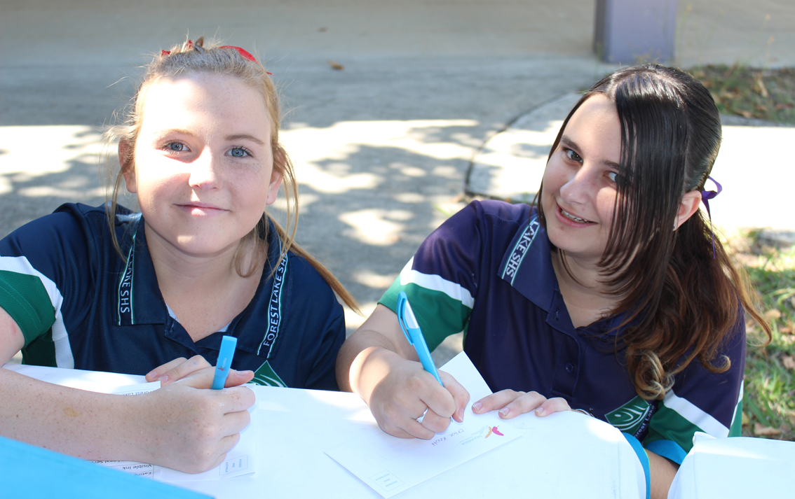 Making pledges at Forest Lake State School.