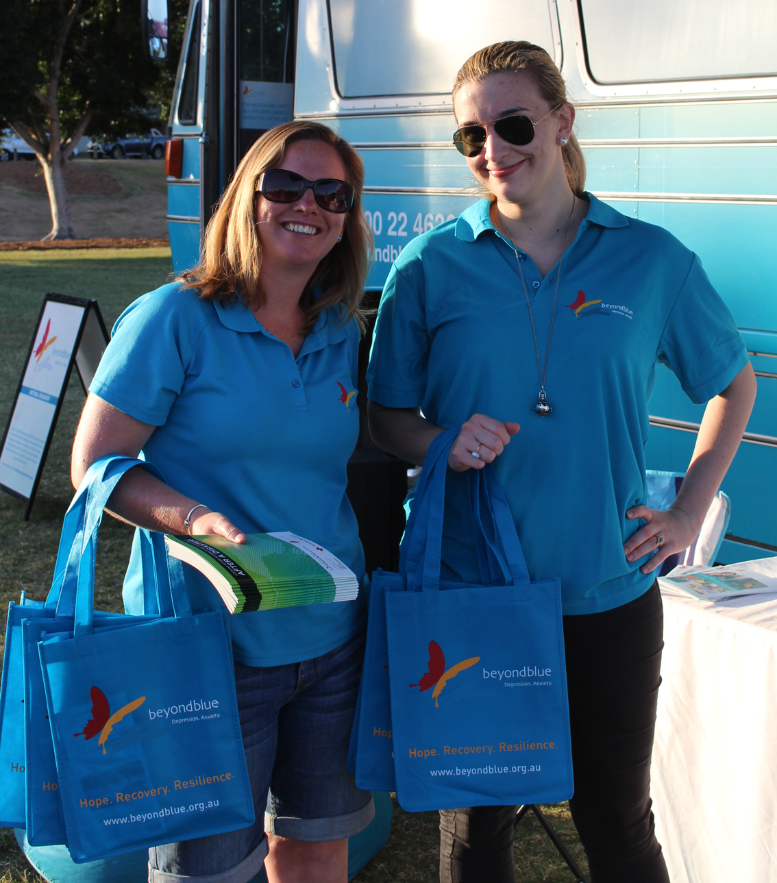 With free Beyond Blue showbags at the Jacaranda Festival in Goodna.