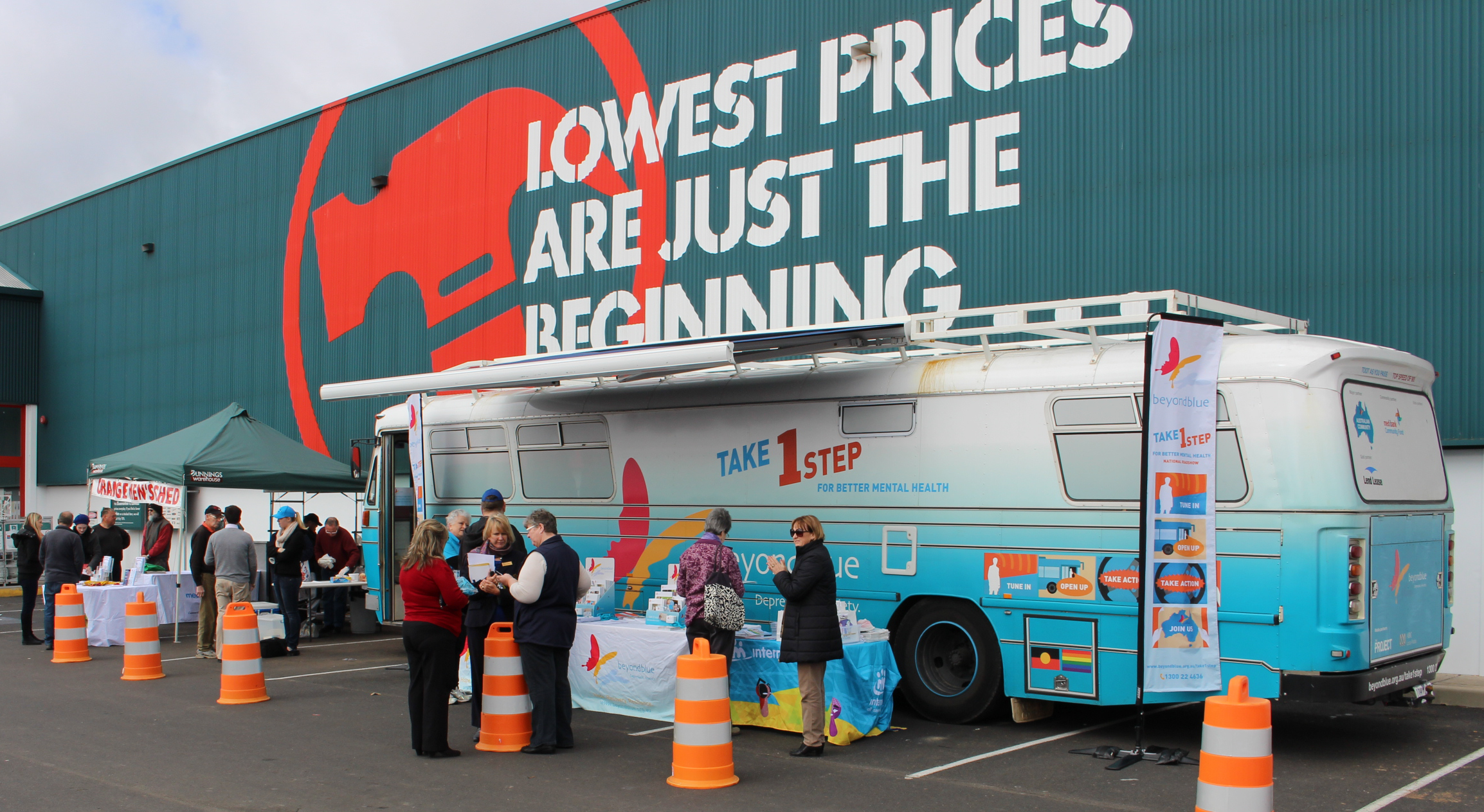 Many people dropped by the bus in Orange to collect some free information about mental health.