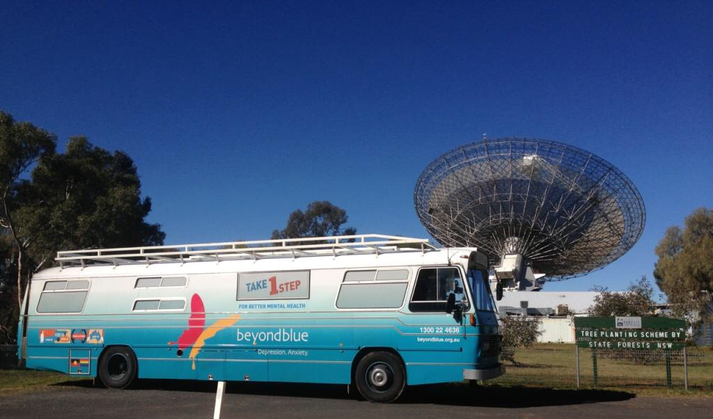 The bus dropped by Parkes to check out 'The Dish'!