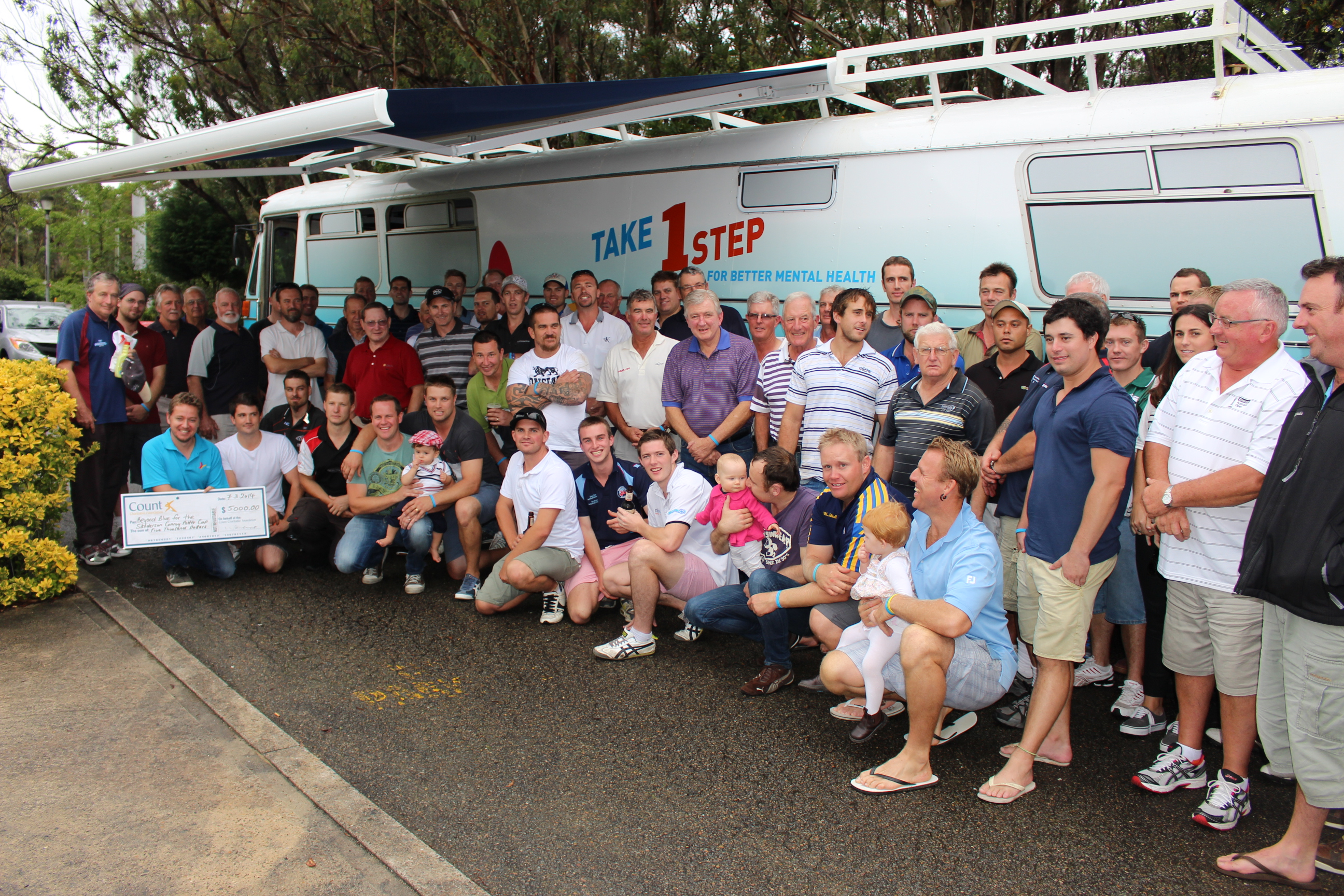 Golfers, family and friends at the Sanderson Conroy Potter Cup Charity Golf Day in Wentworth Falls.