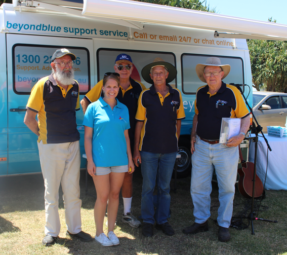 With members of the Bundaberg Men's Shed at the free community festival.