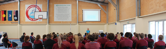 Beyond Blue's Bron Collins presents to students at Mundubbera State School.