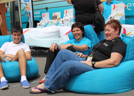 Having a laugh at the USQ Fraser Coast campus Mental Health Week Expo.