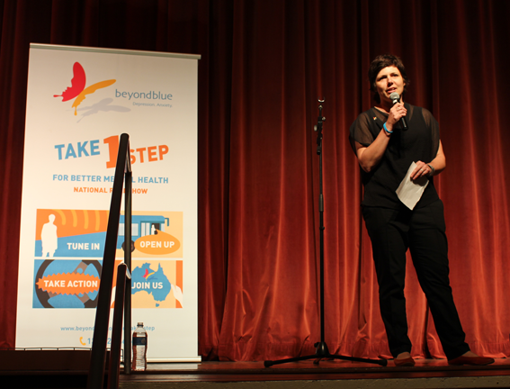 CEO Georgie Harman welcomes the audience to the comedy night in Maryborough.