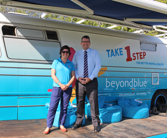 Beyond Blue CEO Georgie Harman and Federal Member for Hinkler Keith Pitt at Hervey Bay's Seafront Oval.