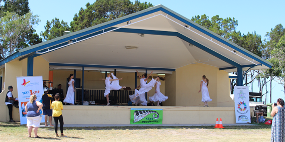 One of the numerous dance and musical acts that entertained crowds on World Mental Health Day.
