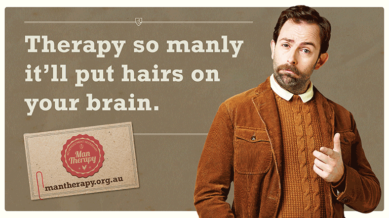 Therapy so manly it'll put hairs on your brain. I'm Doctor Brian Ironwood - visit me at my website.